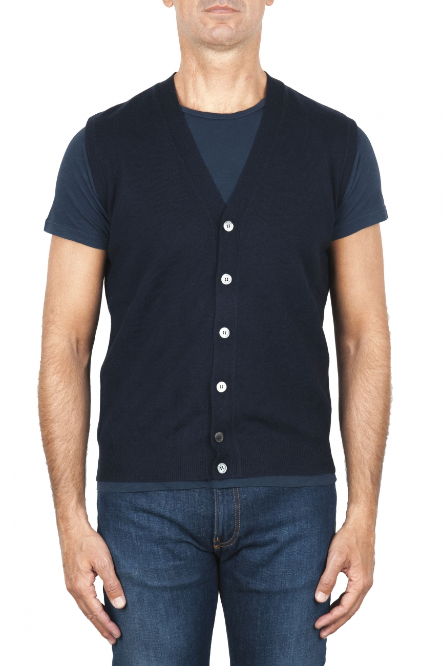 SBU 01851_19AW Maglia gilet cardigan in lana merino e cashmere blu 01