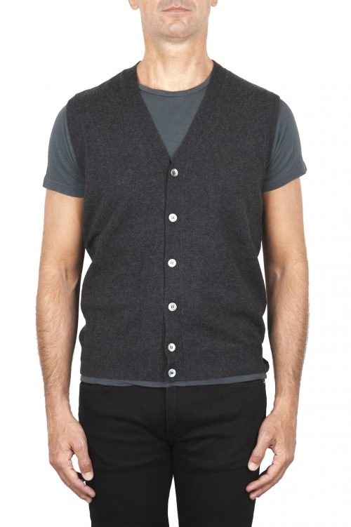 SBU 01852_19AW Maglia gilet cardigan in lana merino e cashmere grigia 01