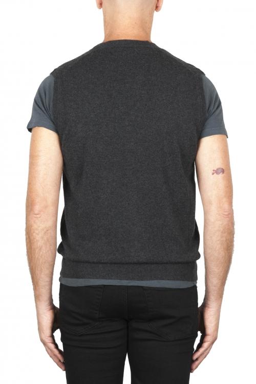 SBU 01852_19AW Chaleco de punto gris de lana merino y cachemira 01