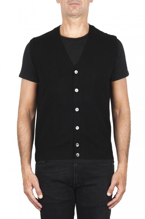 SBU 01853_19AW Maglia gilet cardigan in lana merino e cashmere nera 01