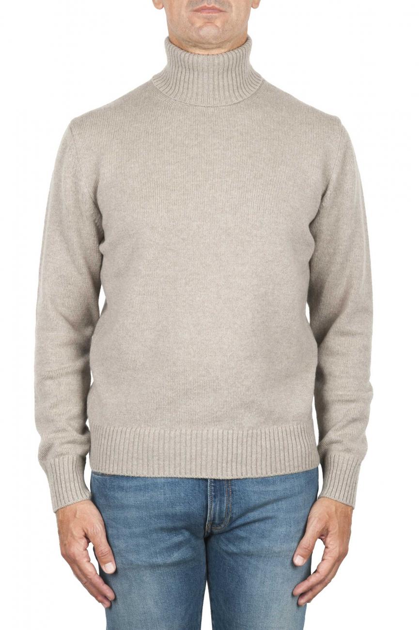 SBU 01854_19AW Beige roll-neck sweater in wool cashmere blend 01