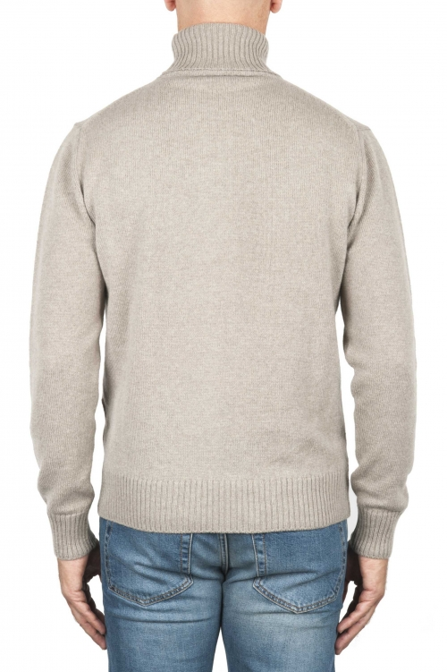 SBU 01854_19AW Beige roll-neck sweater in wool cashmere blend 01