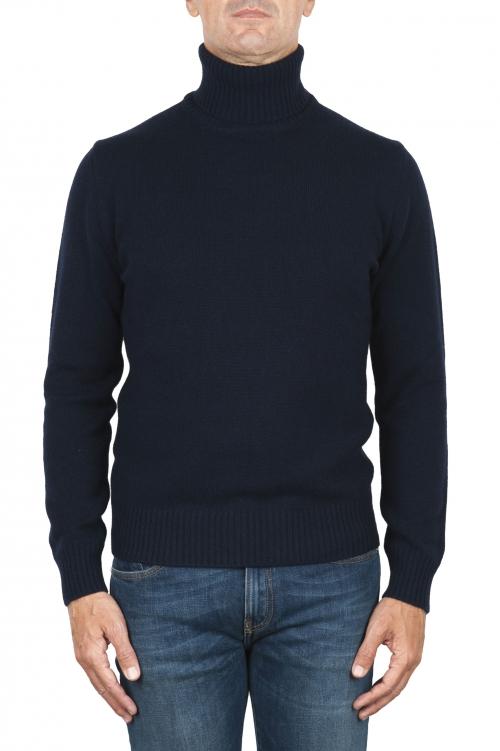 SBU 01855_19AW Jersey con cuello vuelto azul en mezcla de lana y cachemir 01