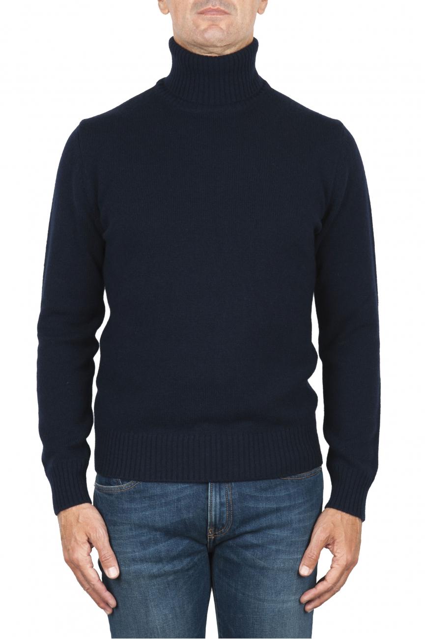 SBU 01855_19AW Pull à col roulé bleu en laine et cachemire mélangés 01
