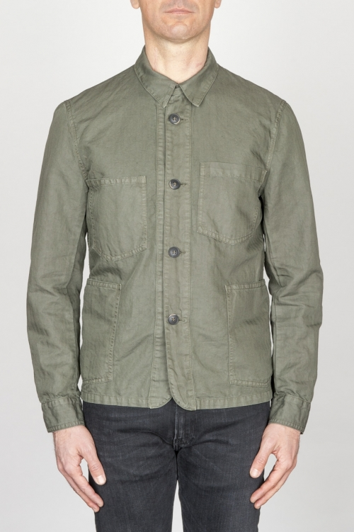 Stone Washed Green Work Jacket In Mixed Cotton And Linen