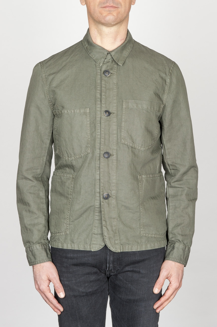 SBU - Strategic Business Unit - Stone Washed Green Work Jacket In Mixed Cotton And Linen