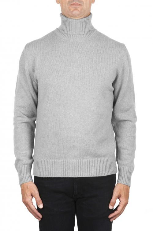 SBU 01856_19AW Pull à col roulé gris en laine et cachemire mélangés 01