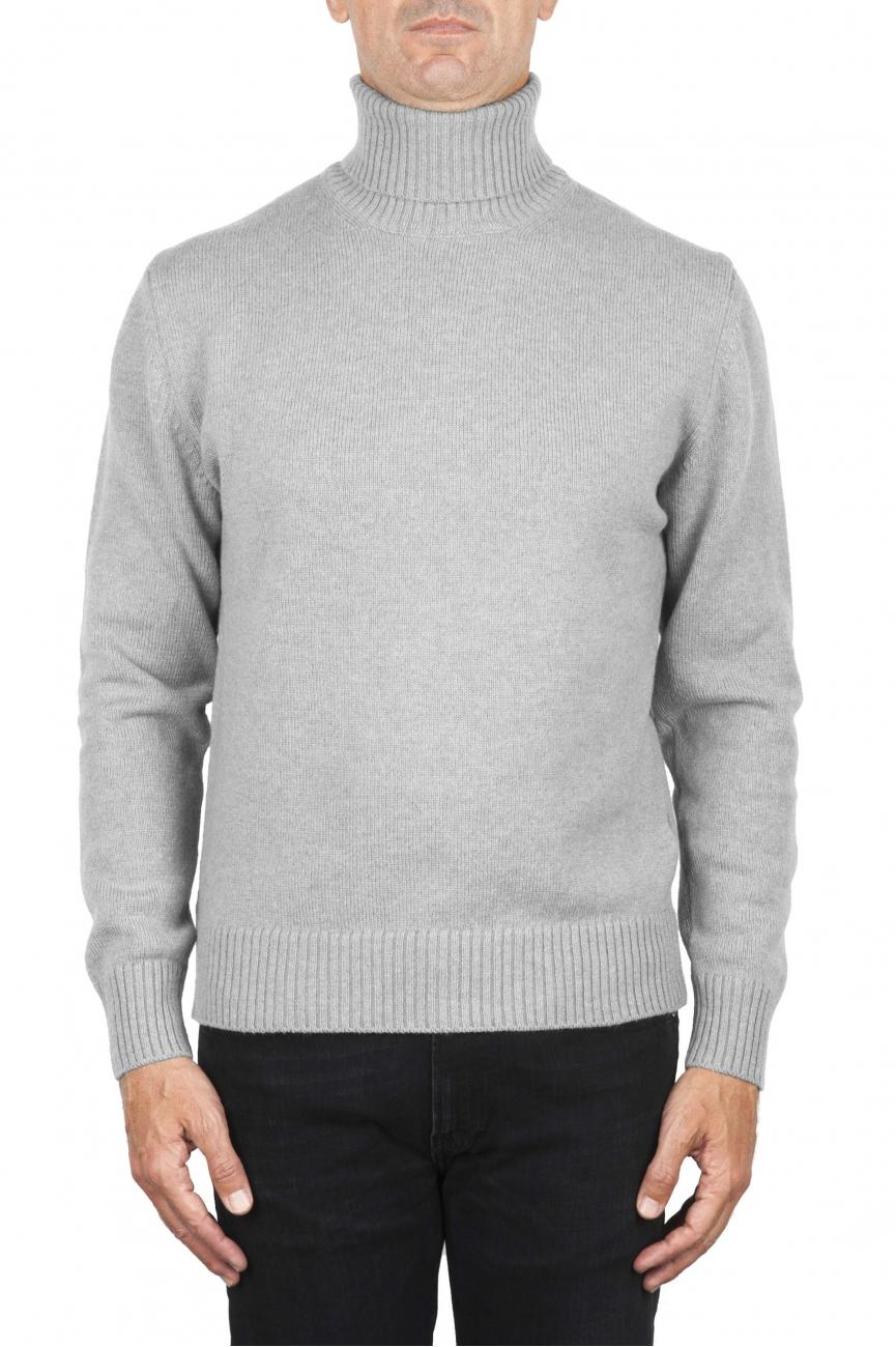 SBU 01856_19AW Jersey con cuello vuelto gris en mezcla de lana y cachemir 01