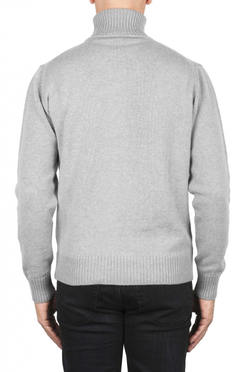 SBU 01856_19AW Grey roll-neck sweater in wool cashmere blend 01