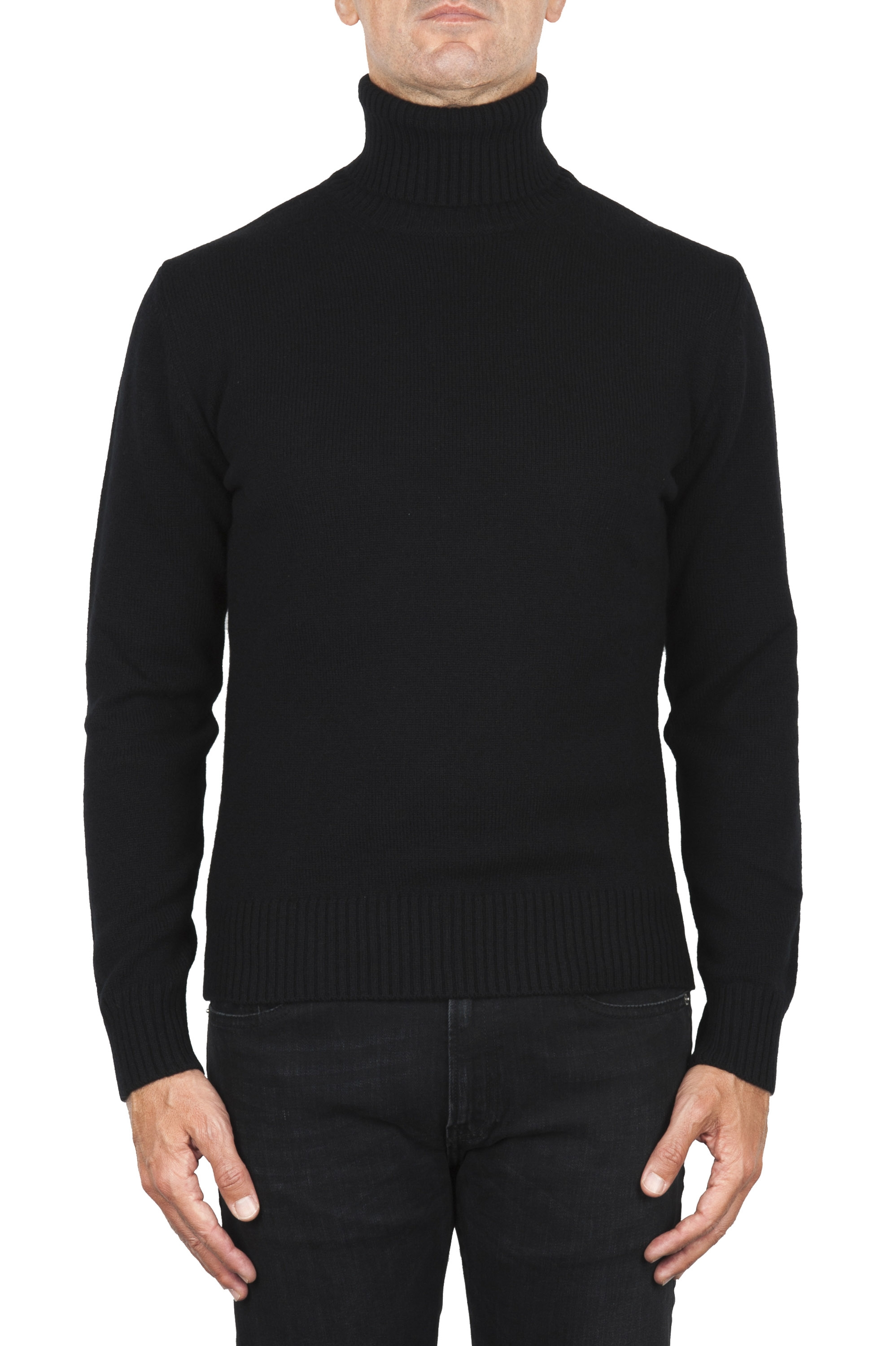 SBU 01857_19AW Black roll-neck sweater in wool cashmere blend 01