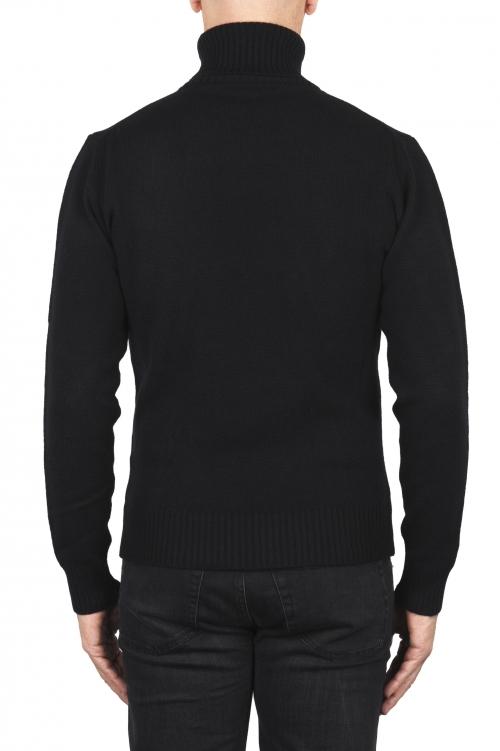 SBU 01857_19AW Pull à col roulé noir en laine et cachemire mélangés 01