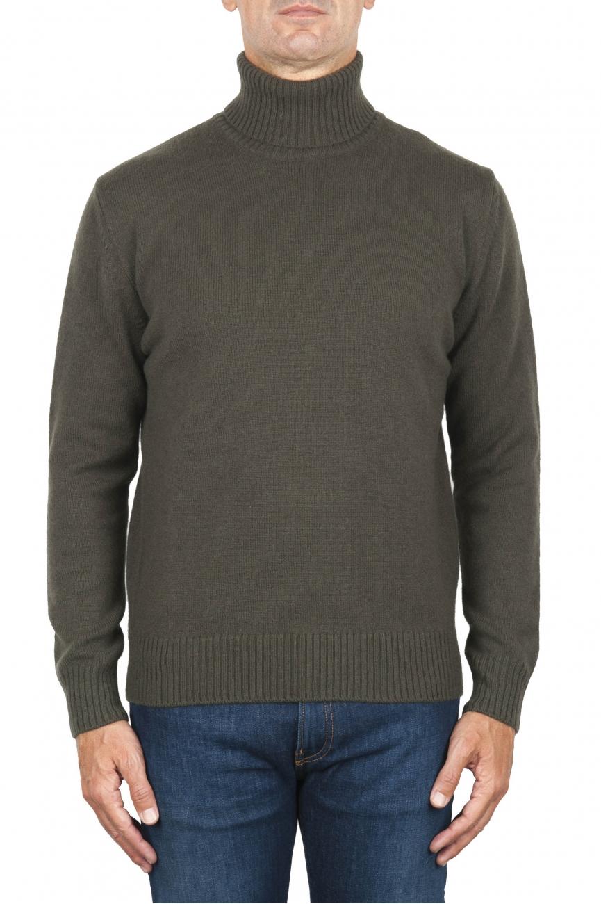 SBU 01859_19AW ウールカシミアブレンドのグリーンロールネックセーター 01