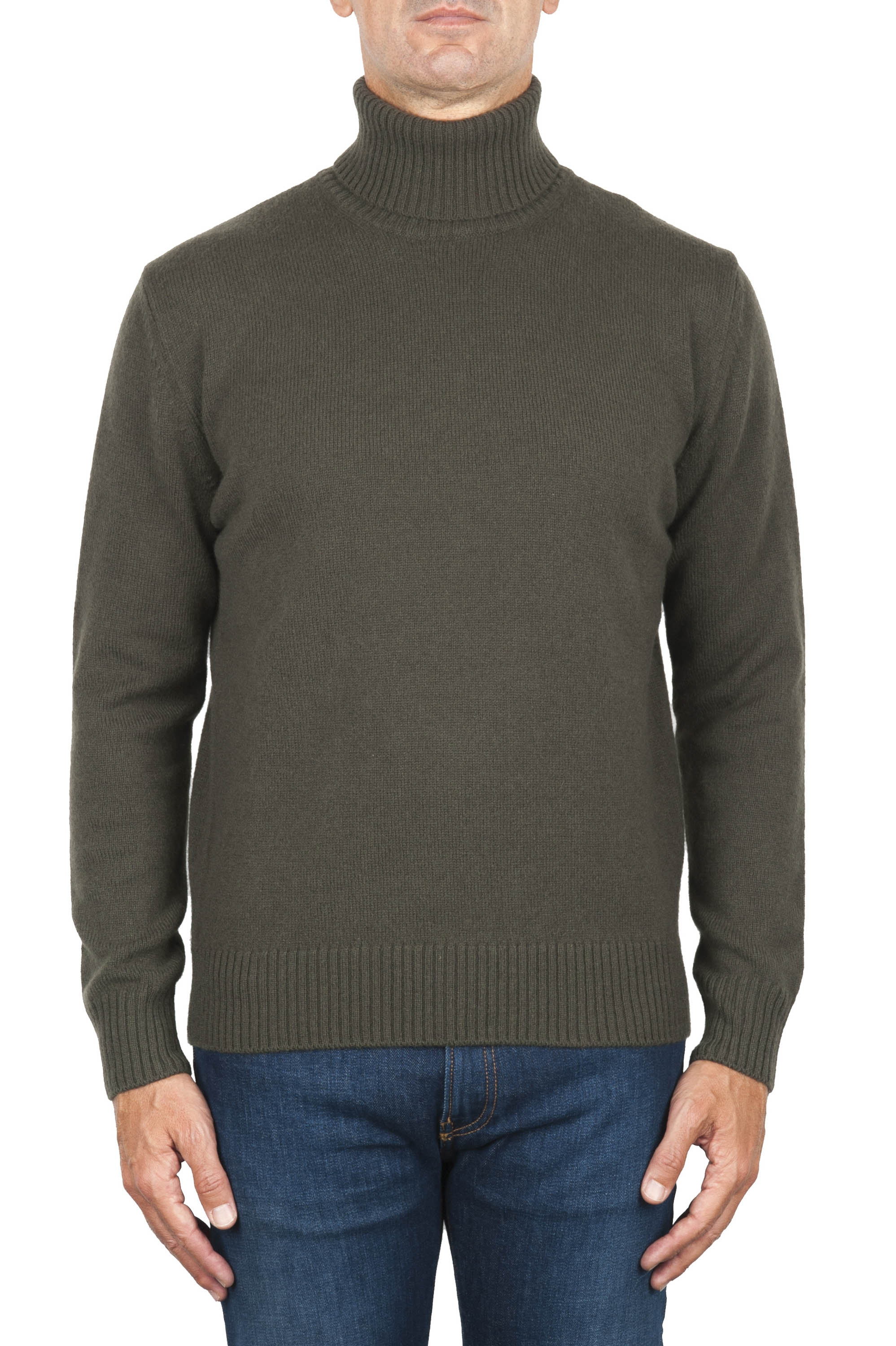 SBU 01859_19AW Green roll-neck sweater in wool cashmere blend 01