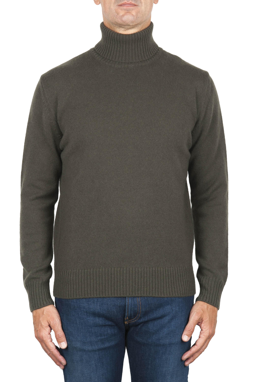 SBU 01859_19AW Maglia collo alto in lana misto cashmere verde 01