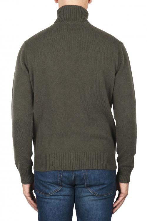SBU 01859_19AW Jersey con cuello vuelto verde en mezcla de lana y cachemir 01
