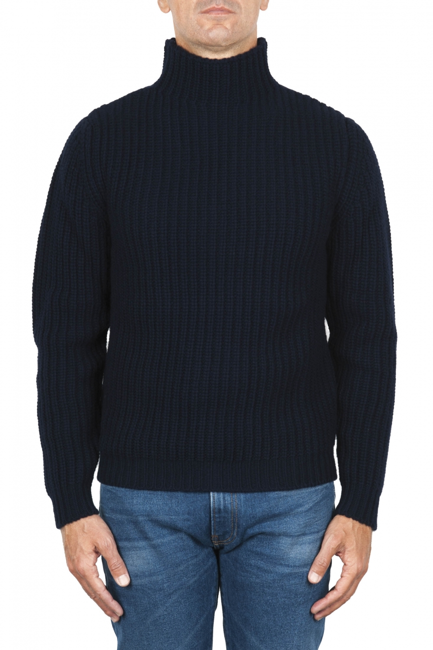 SBU 01860_19AW Blue turtleneck sweater in pure wool fisherman's rib 01