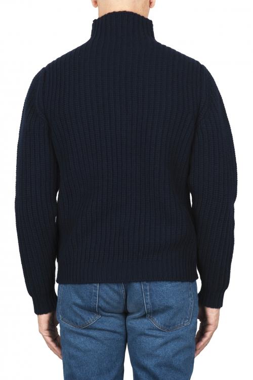 SBU 01860_19AW Jersey de cuello alto de pescador azul en pura lana 01