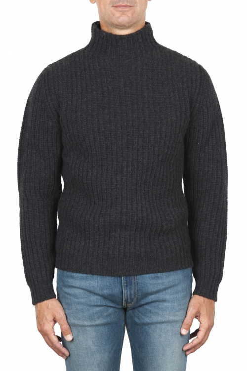 SBU 01861_19AW Grey turtleneck sweater in pure wool fisherman's rib 01