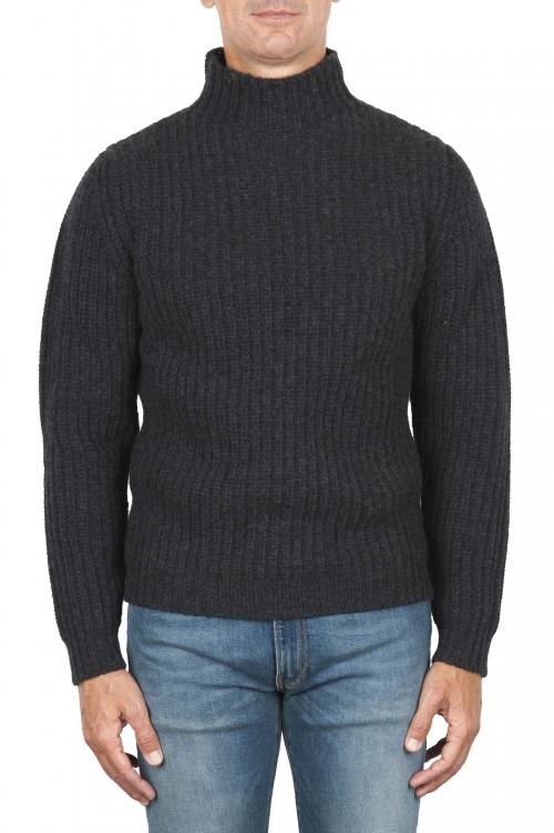 SBU 01861_19AW Pullover collo alto in pura lana a costa inglese grigio 01