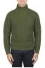 SBU 01862_19AW 純粋なウールの漁師のリブのグリーンタートルネックセーター 01