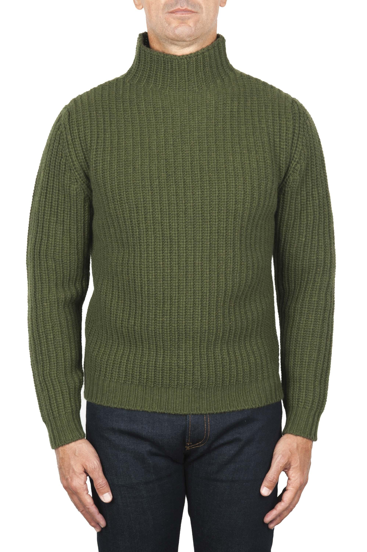 SBU 01862_19AW Pullover collo alto in pura lana a costa inglese verde 01