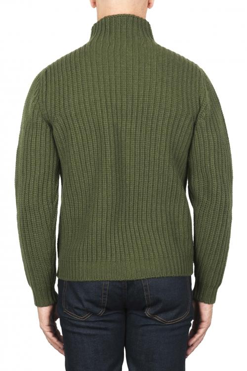 SBU 01862_19AW Green turtleneck sweater in pure wool fisherman's rib 01