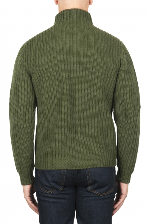 SBU 01862_19AW Green turtleneck sweater in pure wool fisherman's rib 01