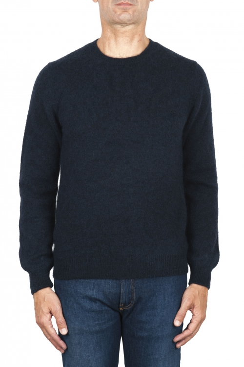 SBU 01863_19AW Blue alpaca and wool blend crew neck sweater 01