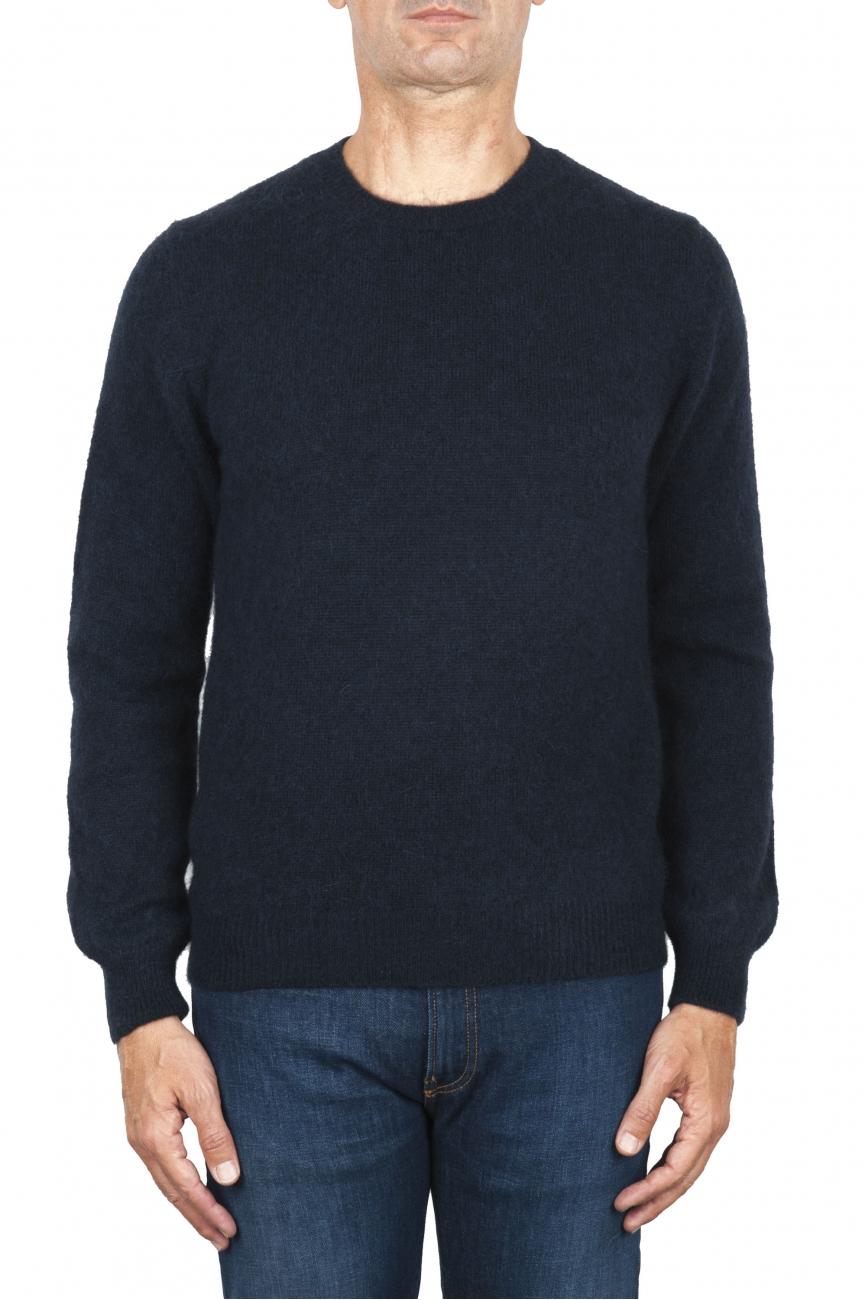 SBU 01863_19AW Blue alpaca and wool blend crew neck sweater 01