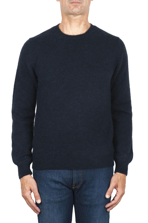 SBU 01863_19AW Jersey con cuello redondo en mezcla de alpaca y lana azul 01