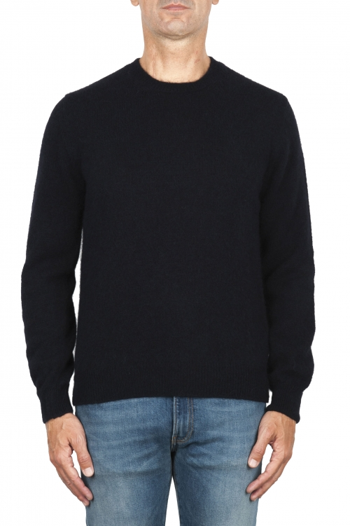 SBU 01864_19AW Navy blue alpaca and wool blend crew neck sweater 01