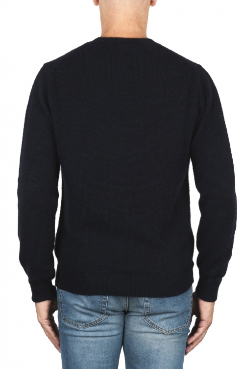 SBU 01864_19AW ネイビーブルーのアルパカとウールの混紡クルーネックセーター 01