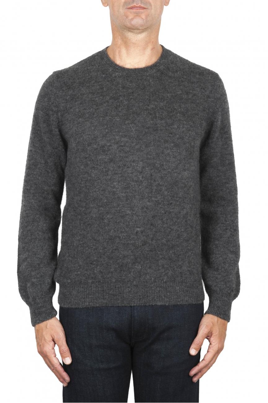 SBU 01865_19AW グレーのアルパカとウールのブレンドクルーネックセーター 01