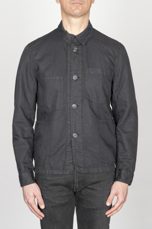Stone Washed Black Work Jacket In Mixed Cotton And Linen