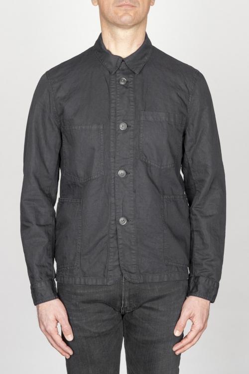 SBU - Strategic Business Unit - 綿とリネンを混ぜ合わせた黒いワークジャケット