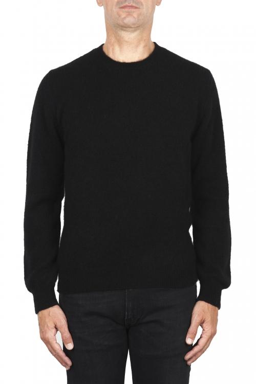 SBU 01866_19AW ブラックアルパカとウールのブレンドクルーネックセーター 01