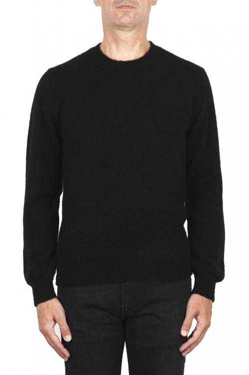 SBU 01866_19AW Black alpaca and wool blend crew neck sweater 01