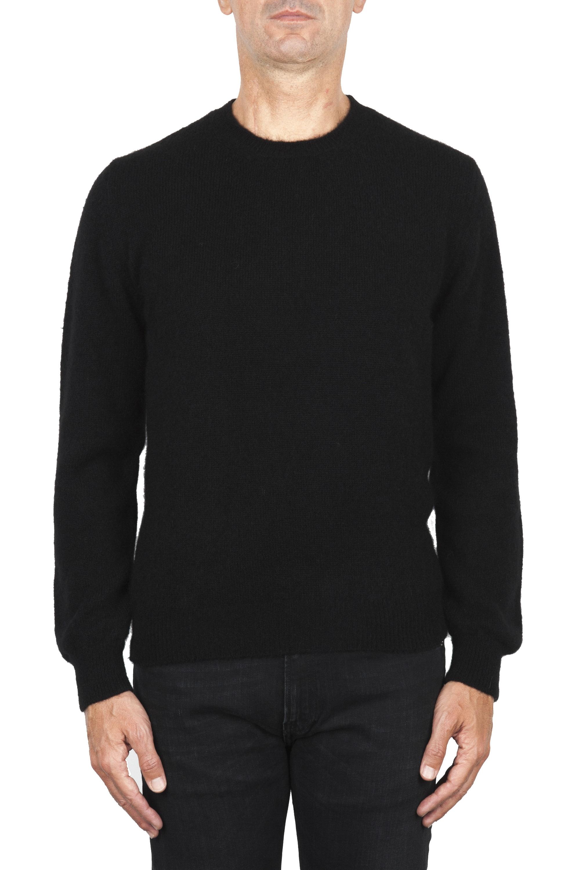 SBU 01866_19AW Black alpaca and wool blend crew neck sweater 01