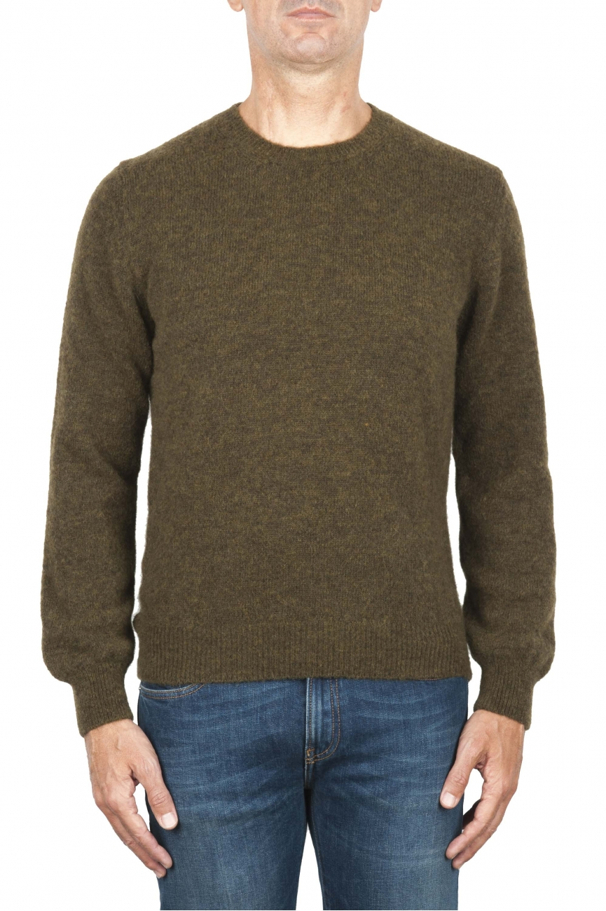 SBU 01868_19AW Maglia girocollo in lana misto alpaca verde 01