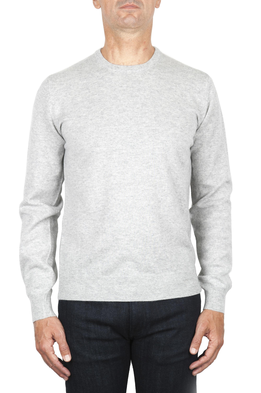 SBU 01870_19AW Grey pure cashmere crew neck sweater 01
