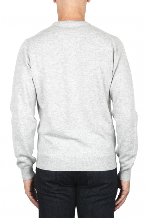 SBU 01870_19AW Grey pure cashmere crew neck sweater 01