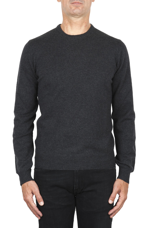 SBU 01871_19AW Suéter con cuello redondo de pura cachemira antracita 01