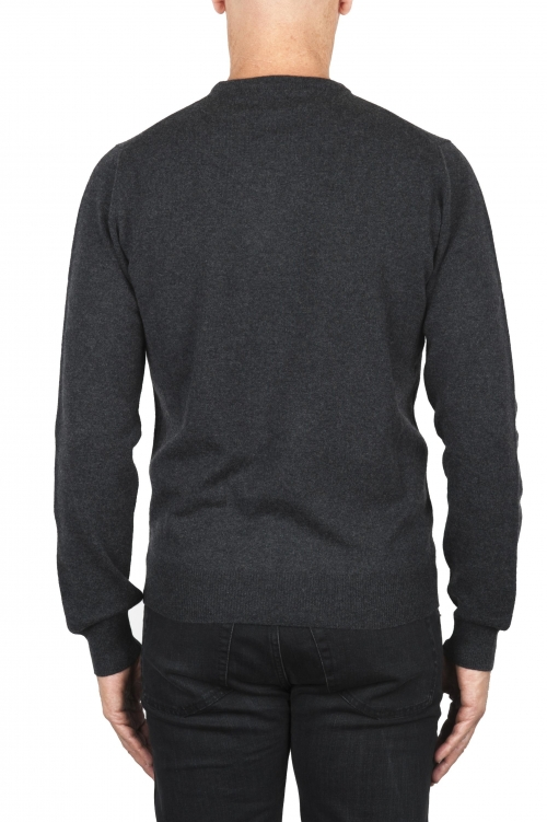 SBU 01871_19AW Anthracite pure cashmere crew neck sweater 01