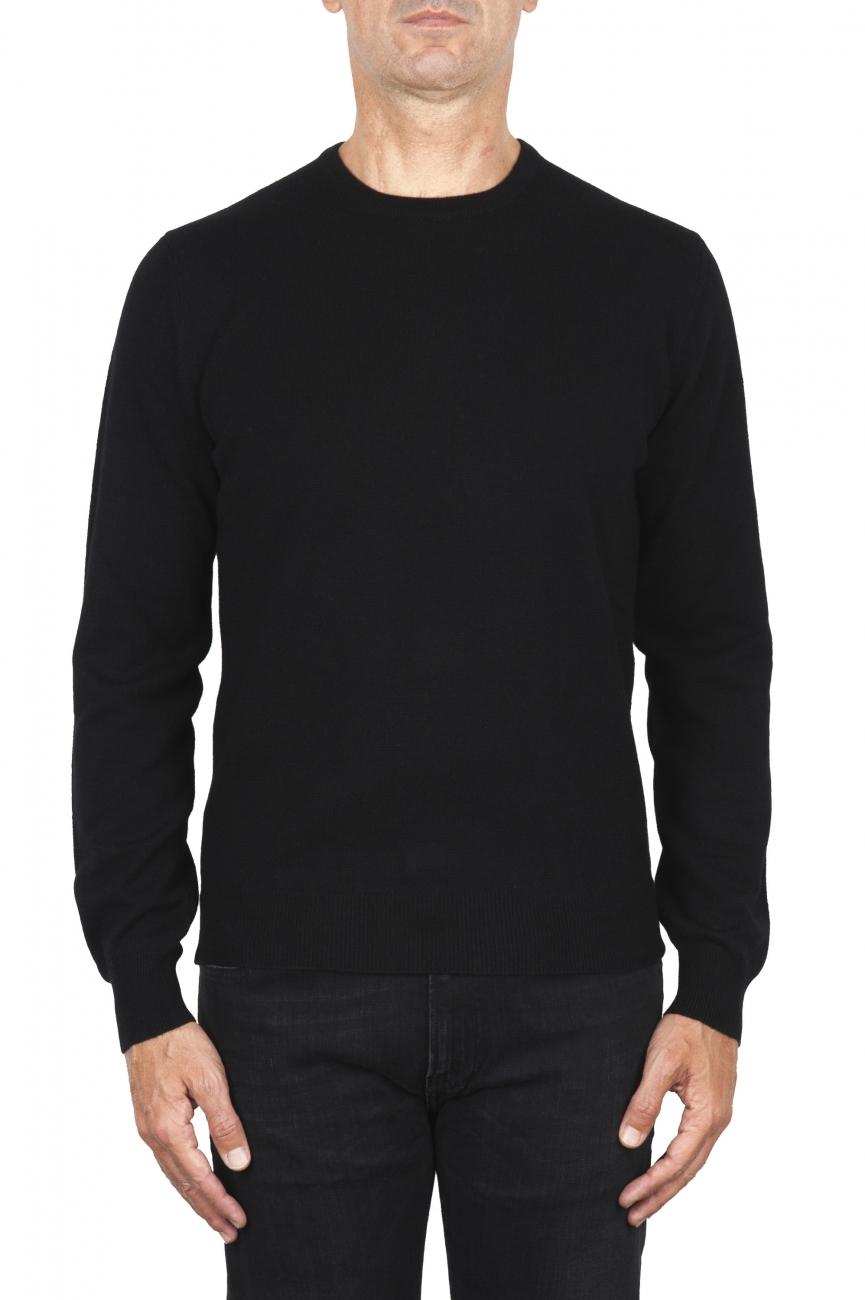 SBU 01873_19AW Black pure cashmere crew neck sweater 01