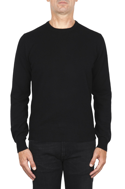 SBU 01873_19AW ブラックピュアカシミアクルーネックセーター 01