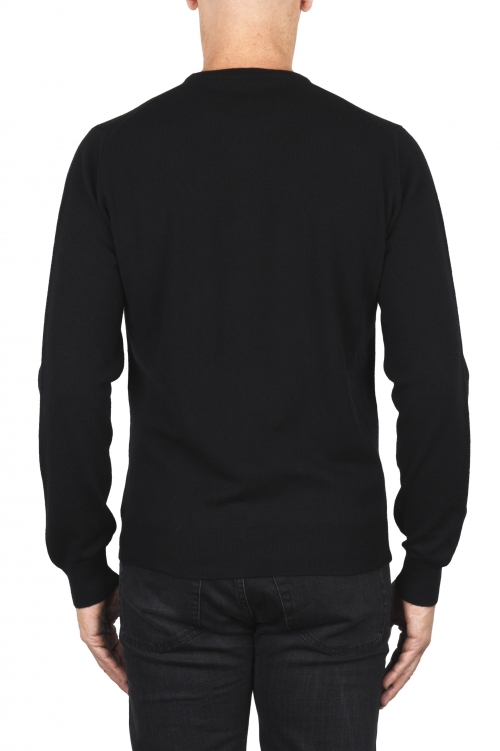 SBU 01873_19AW Black pure cashmere crew neck sweater 01