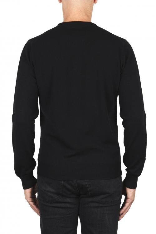 SBU 01873_19AW Suéter con cuello redondo de pura cachemira negro 01