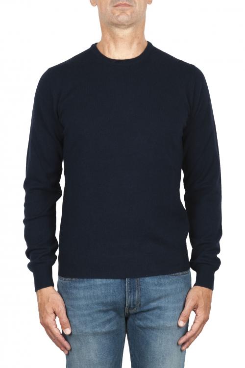 SBU 01874_19AW メリノウールの極細のブルーのクルーネックセーター 01