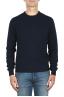 SBU 01874_19AW Blue crew neck sweater in merino wool extra fine 01