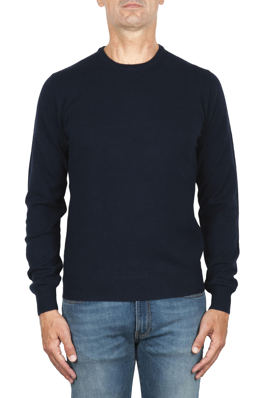 SBU 01874_19AW Jersey azul con cuello redondo en lana merino extra fino 01